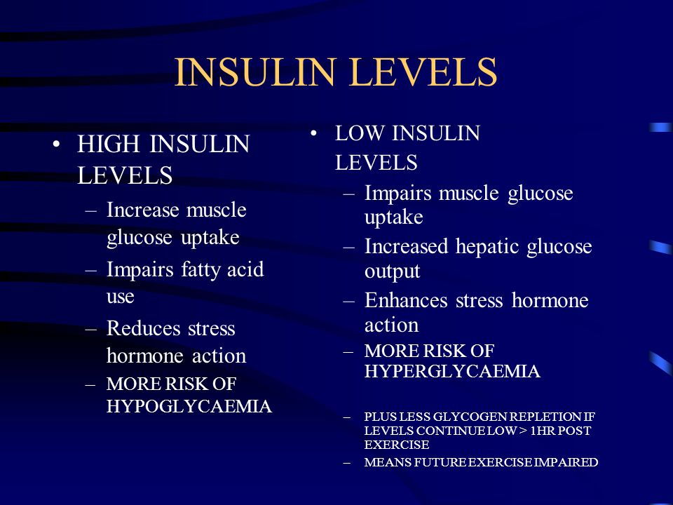 INSULIN LEVELS HIGH INSULIN LEVELS –Increase muscle glucose uptake –Impairs fatty acid use –Reduces stress hormone action –MORE RISK OF HYPOGLYCAEMIA LOW INSULIN LEVELS –Impairs muscle glucose uptake –Increased hepatic glucose output –Enhances stress hormone action –MORE RISK OF HYPERGLYCAEMIA –PLUS LESS GLYCOGEN REPLETION IF LEVELS CONTINUE LOW > 1HR POST EXERCISE –MEANS FUTURE EXERCISE IMPAIRED