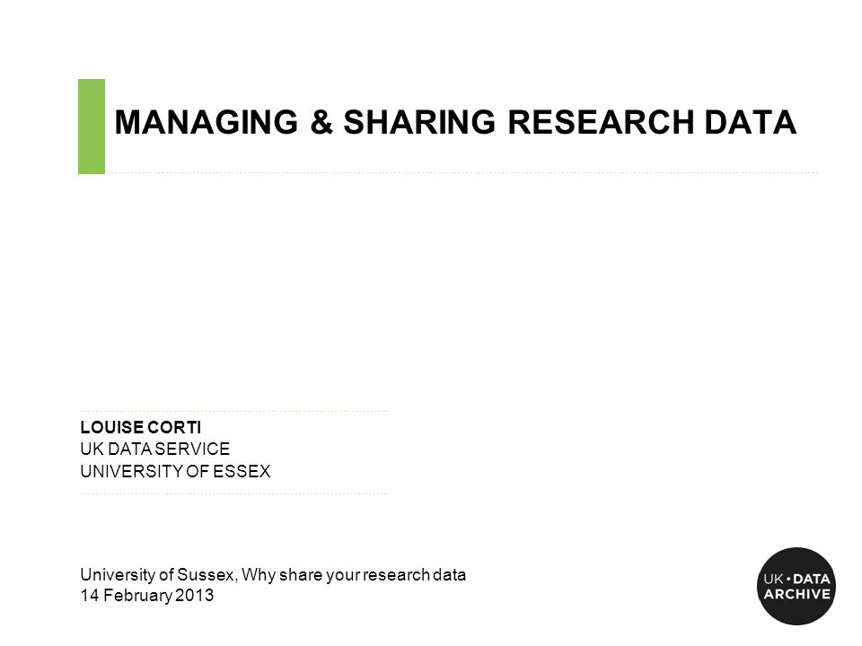 MANAGING & SHARING RESEARCH DATA ……………………………………………………………………………………………………………………………….……………………………..
