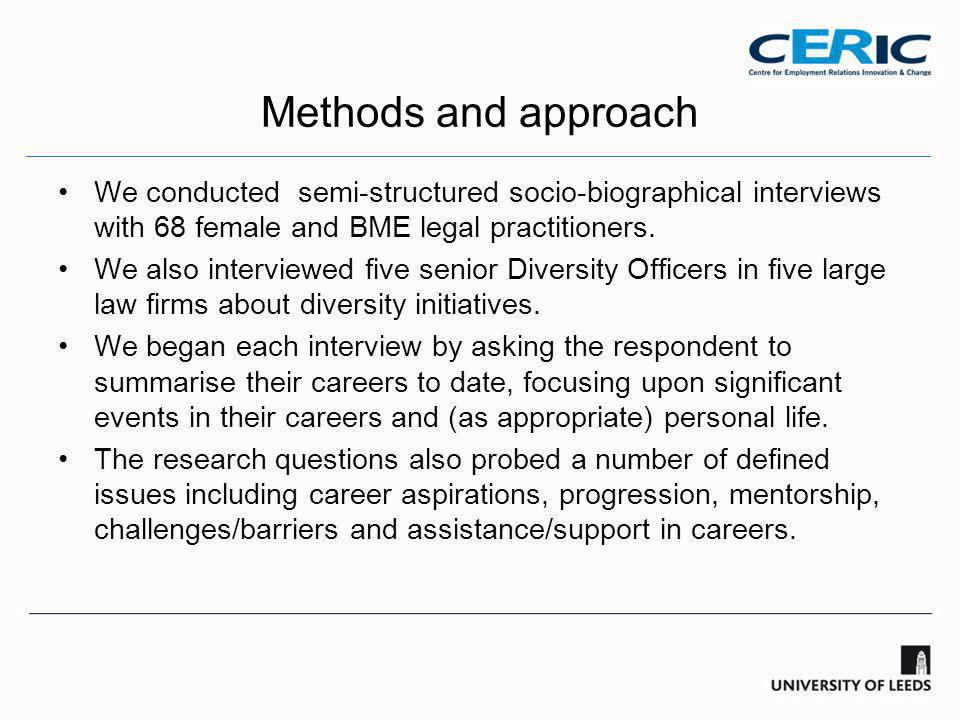 Methods and approach We conducted semi-structured socio-biographical interviews with 68 female and BME legal practitioners.