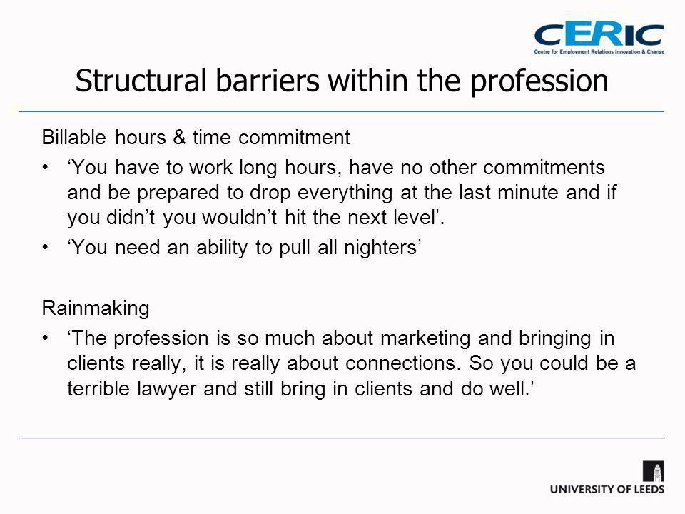 Structural barriers within the profession Billable hours & time commitment 'You have to work long hours, have no other commitments and be prepared to drop everything at the last minute and if you didn't you wouldn't hit the next level'.