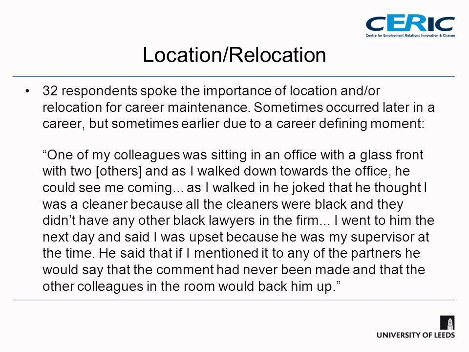 Location/Relocation 32 respondents spoke the importance of location and/or relocation for career maintenance.