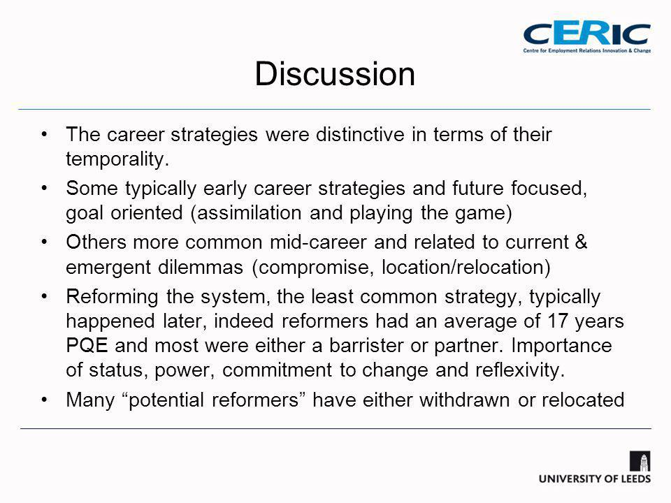 Discussion The career strategies were distinctive in terms of their temporality.