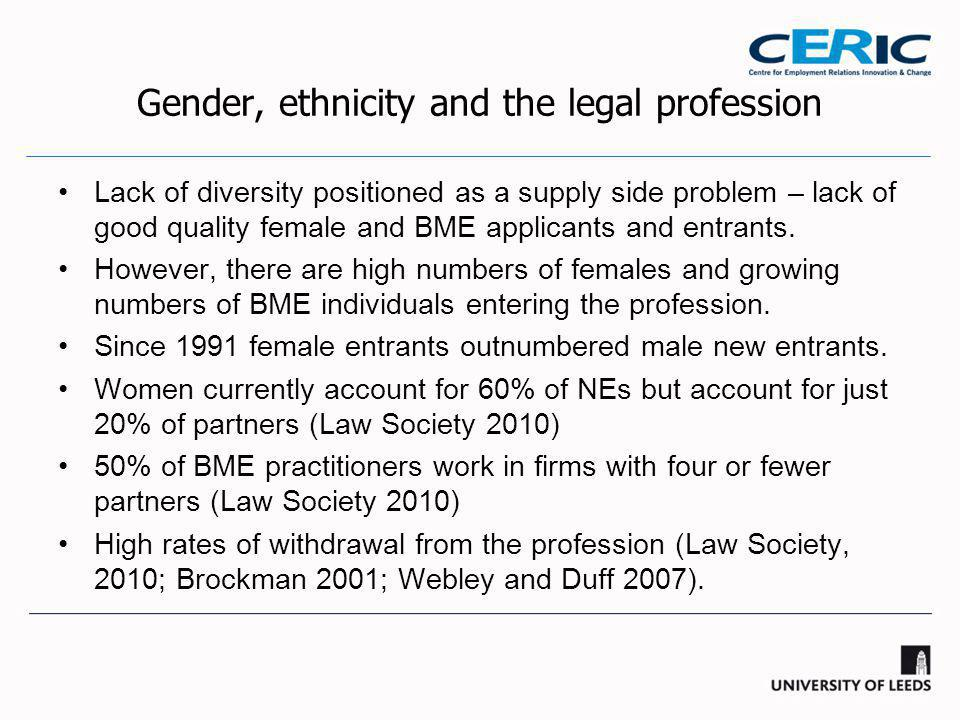 Gender, ethnicity and the legal profession Lack of diversity positioned as a supply side problem – lack of good quality female and BME applicants and entrants.