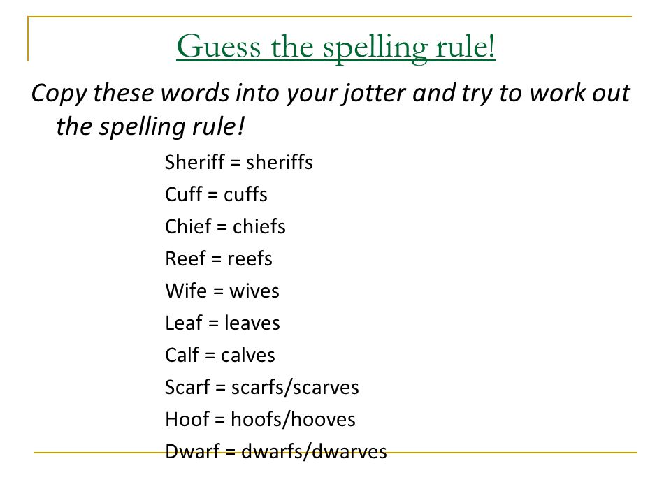 Guess the spelling rule. Copy these words into your jotter and try to work out the spelling rule.