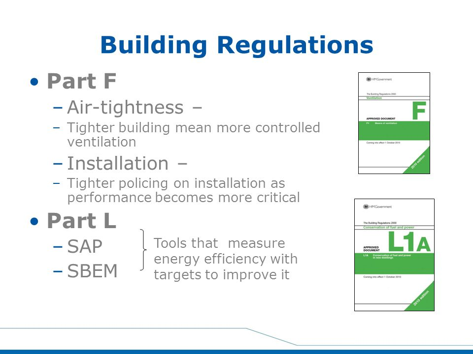 Building Regulations Part F –Air-tightness – –Tighter building mean more controlled ventilation –Installation – –Tighter policing on installation as p