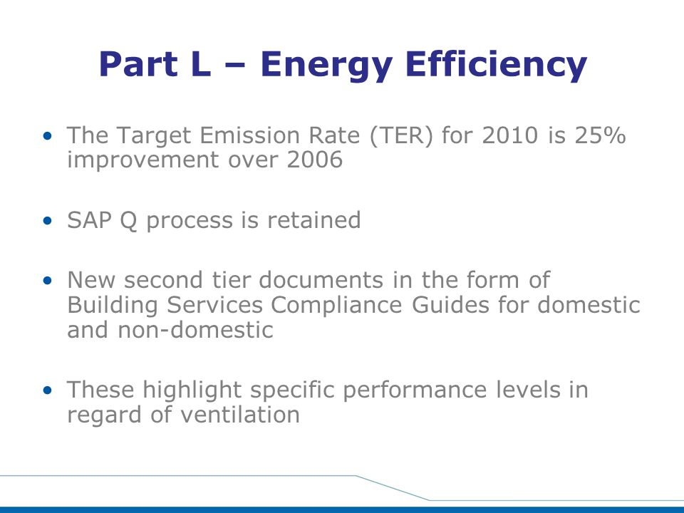 Part L – Energy Efficiency The Target Emission Rate (TER) for 2010 is 25% improvement over 2006 SAP Q process is retained New second tier documents in