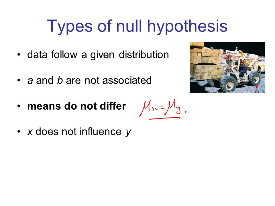 Types of null hypothesis data follow a given distribution a and b are not associated means do not differ x does not influence y