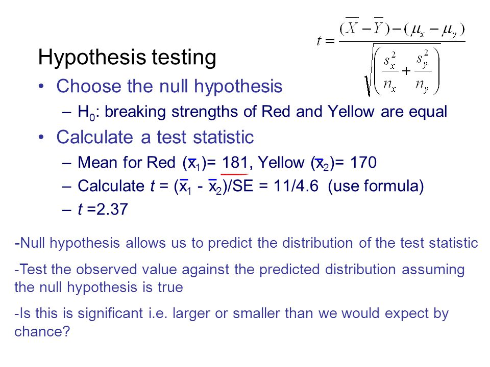 Hypothesis testing Choose the null hypothesis –H 0 : breaking strengths of Red and Yellow are equal Calculate a test statistic –Mean for Red (x 1 )= 1