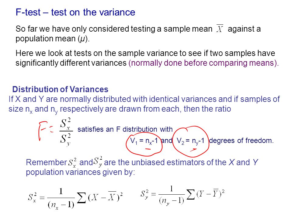 F-test – test on the variance So far we have only considered testing a sample mean against a population mean (μ).