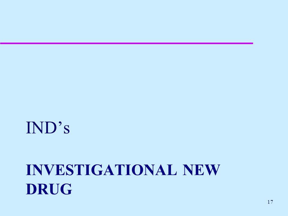 INVESTIGATIONAL NEW DRUG IND's 17
