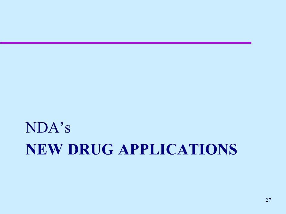 NEW DRUG APPLICATIONS NDA's 27