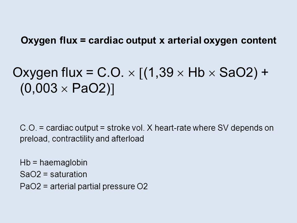 Oxygen flux = cardiac output x arterial oxygen content Oxygen flux = C.O.