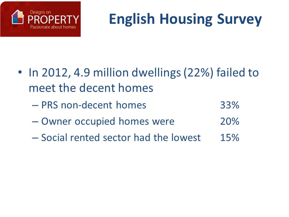 English Housing Survey In 2012, 4.9 million dwellings (22%) failed to meet the decent homes – PRS non-decent homes 33% – Owner occupied homes were 20%