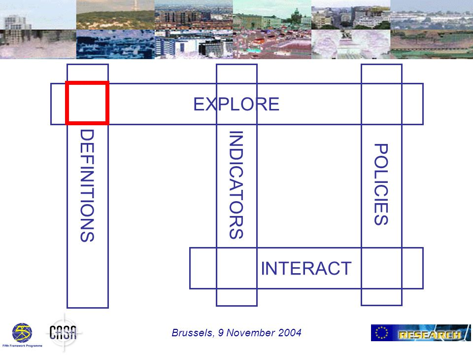EXPLORE INTERACT DEFINITIONSINDICATORSPOLICIES Brussels, 9 November 2004