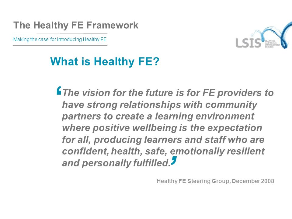 The Healthy FE Framework Making the case for introducing Healthy FE What is Healthy FE.