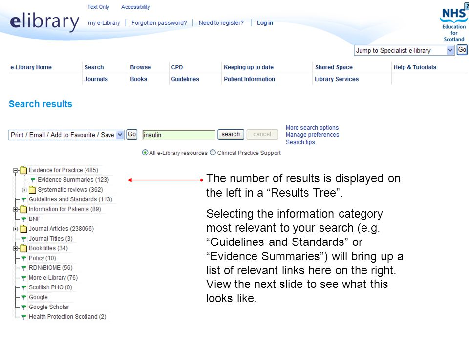 """Delivering Knowledge for Health The number of results is displayed on the left in a """"Results Tree"""". Selecting the information category most relevant t"""