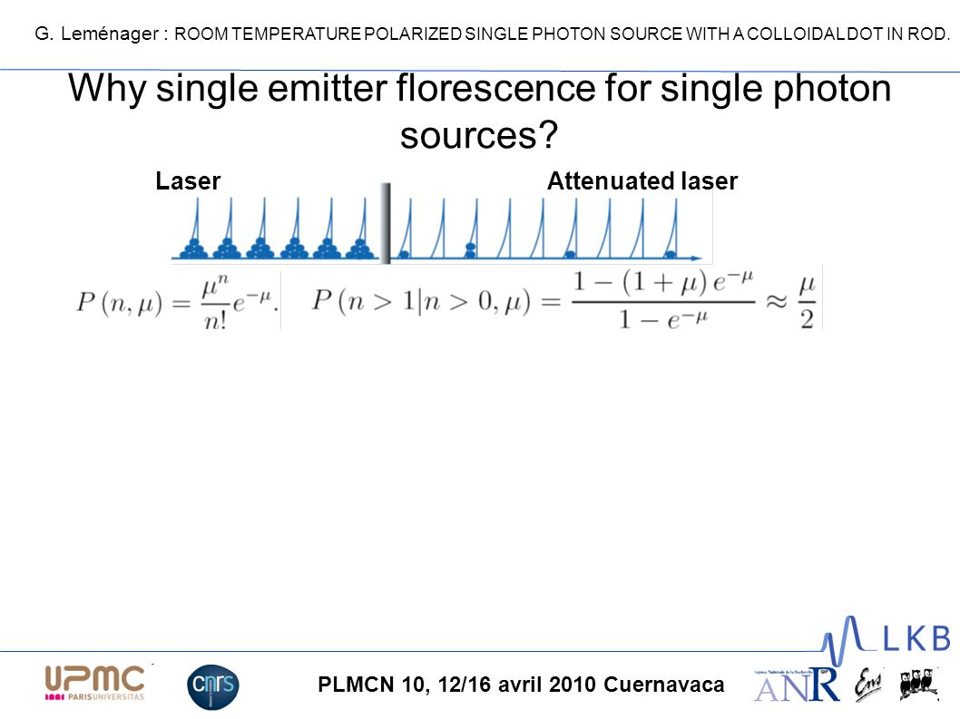 G. Leménager : ROOM TEMPERATURE POLARIZED SINGLE PHOTON SOURCE WITH A COLLOIDAL DOT IN ROD. PLMCN 10, 12/16 avril 2010 Cuernavaca Why single emitter f