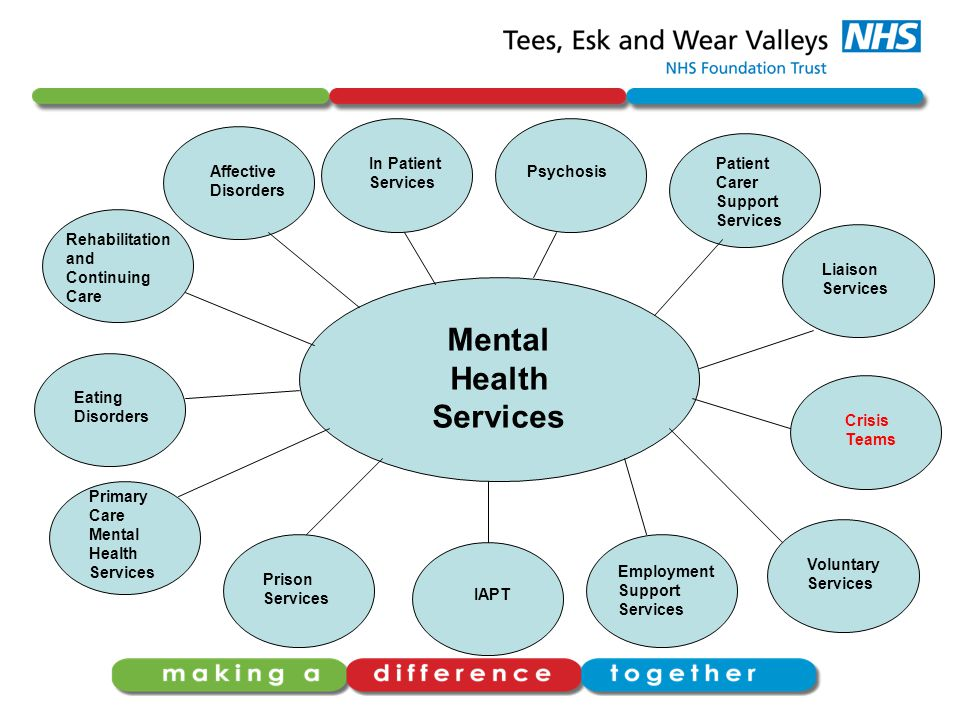 Mental Health Services Affective Disorders In Patient Services Psychosis Patient Carer Support Services Liaison Services Crisis Teams Voluntary Services Employment Support Services IAPT Prison Services Primary Care Mental Health Services Eating Disorders Rehabilitation and Continuing Care