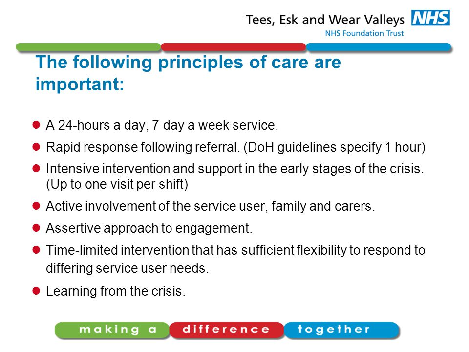 The following principles of care are important: A 24-hours a day, 7 day a week service.
