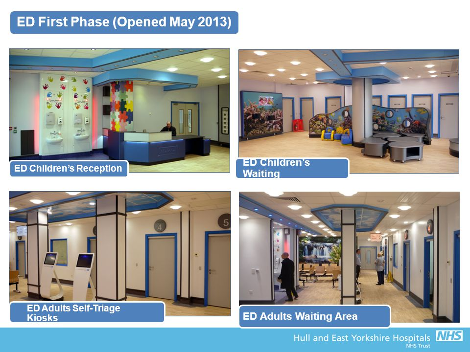 ED Children's Reception ED Children's Waiting ED Adults Self-Triage Kiosks ED Adults Waiting Area ED First Phase (Opened May 2013)