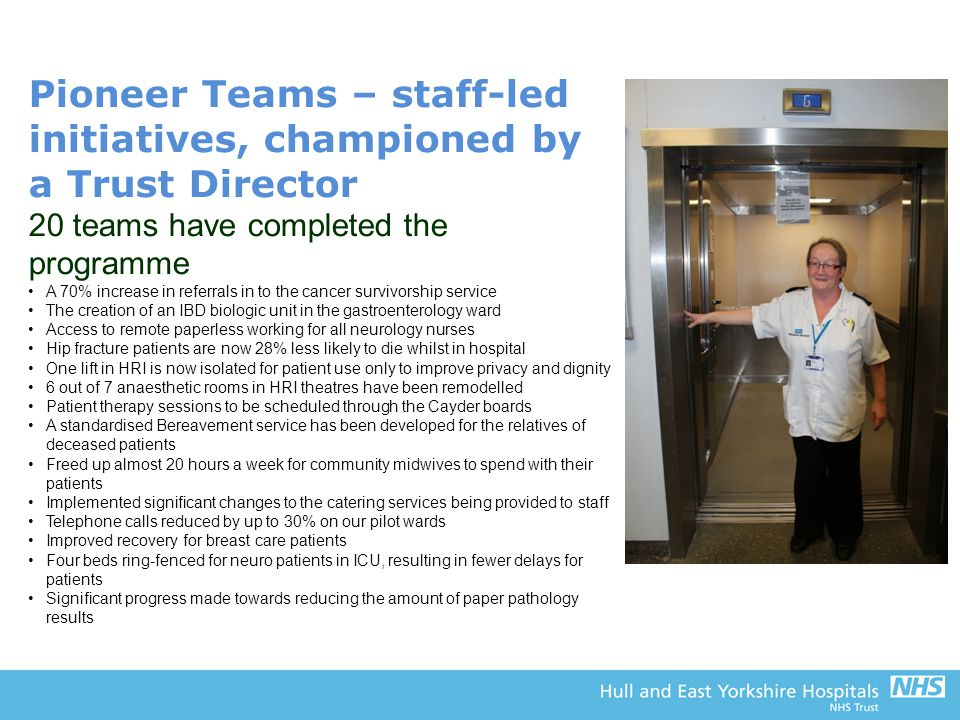 Pioneer Teams – staff-led initiatives, championed by a Trust Director 20 teams have completed the programme A 70% increase in referrals in to the canc