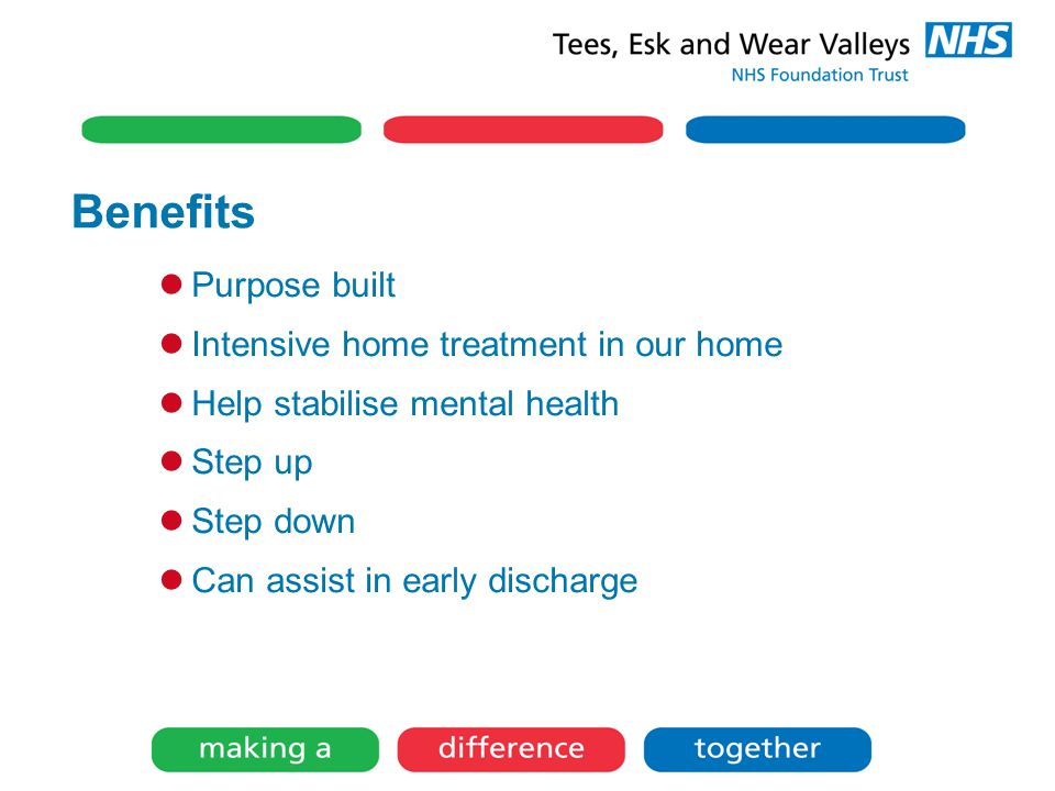 Purpose built Intensive home treatment in our home Help stabilise mental health Step up Step down Can assist in early discharge Seeing it from the service users perspective.