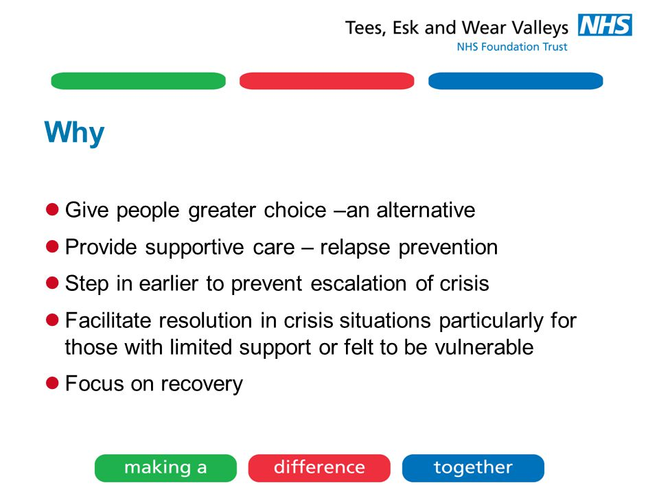 Why Give people greater choice –an alternative Provide supportive care – relapse prevention Step in earlier to prevent escalation of crisis Facilitate