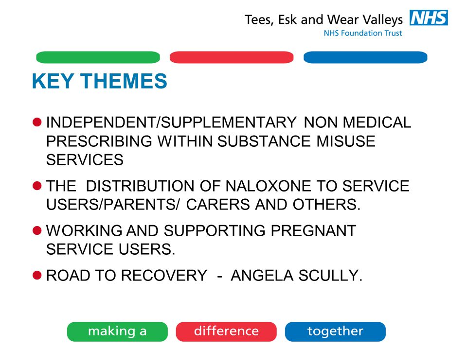 KEY THEMES INDEPENDENT/SUPPLEMENTARY NON MEDICAL PRESCRIBING WITHIN SUBSTANCE MISUSE SERVICES THE DISTRIBUTION OF NALOXONE TO SERVICE USERS/PARENTS/ CARERS AND OTHERS.