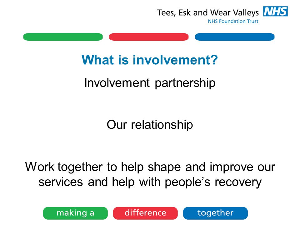 What is involvement? Involvement partnership Our relationship Work together to help shape and improve our services and help with people's recovery