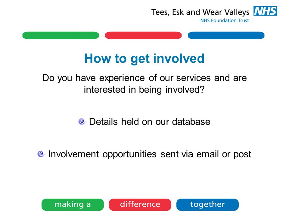 How to get involved Do you have experience of our services and are interested in being involved.