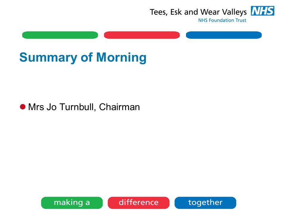 Summary of Morning Mrs Jo Turnbull, Chairman