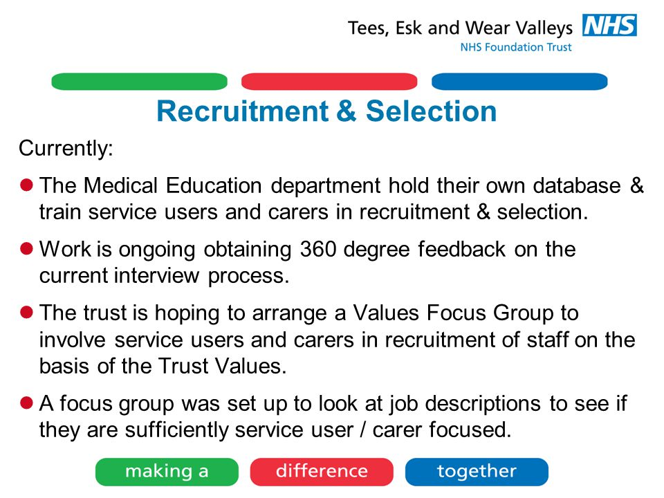 Recruitment & Selection Currently: The Medical Education department hold their own database & train service users and carers in recruitment & selection.