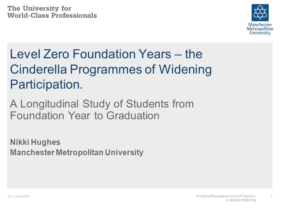 24 th June Widening Participation in the 21 st Century: A decade of learning Level Zero Foundation Years – the Cinderella Programmes of Widening Participation.