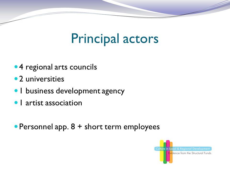 Principal actors 4 regional arts councils 2 universities 1 business development agency 1 artist association Personnel app. 8 + short term employees