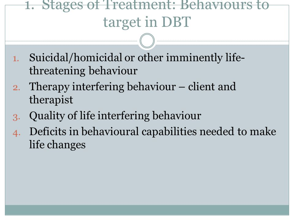 1. Stages of Treatment: Behaviours to target in DBT 1. Suicidal/homicidal or other imminently life- threatening behaviour 2. Therapy interfering behav