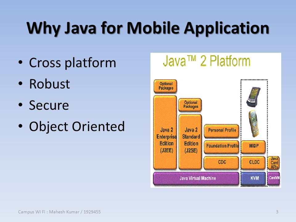 Why Java for Mobile Application Cross platform Robust Secure Object Oriented Campus Wi Fi : Mahesh Kumar / 19294553