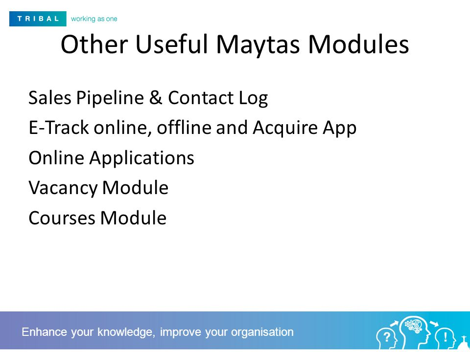 Other Useful Maytas Modules Sales Pipeline & Contact Log E-Track online, offline and Acquire App Online Applications Vacancy Module Courses Module Enhance your knowledge, improve your organisation