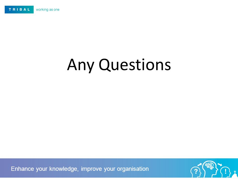 Any Questions Enhance your knowledge, improve your organisation