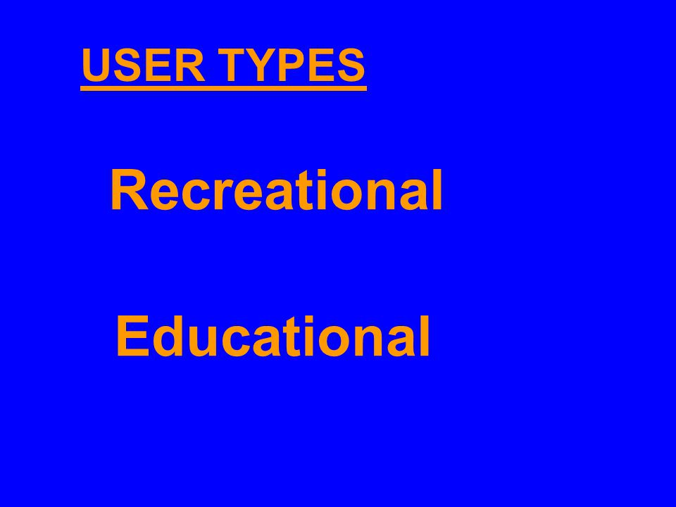 Recreational Educational USER TYPES