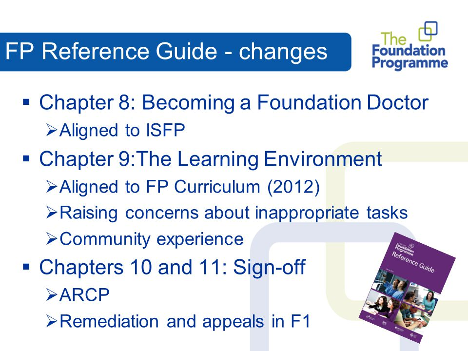 FP Reference Guide - changes  Chapter 8: Becoming a Foundation Doctor  Aligned to ISFP  Chapter 9:The Learning Environment  Aligned to FP Curricul