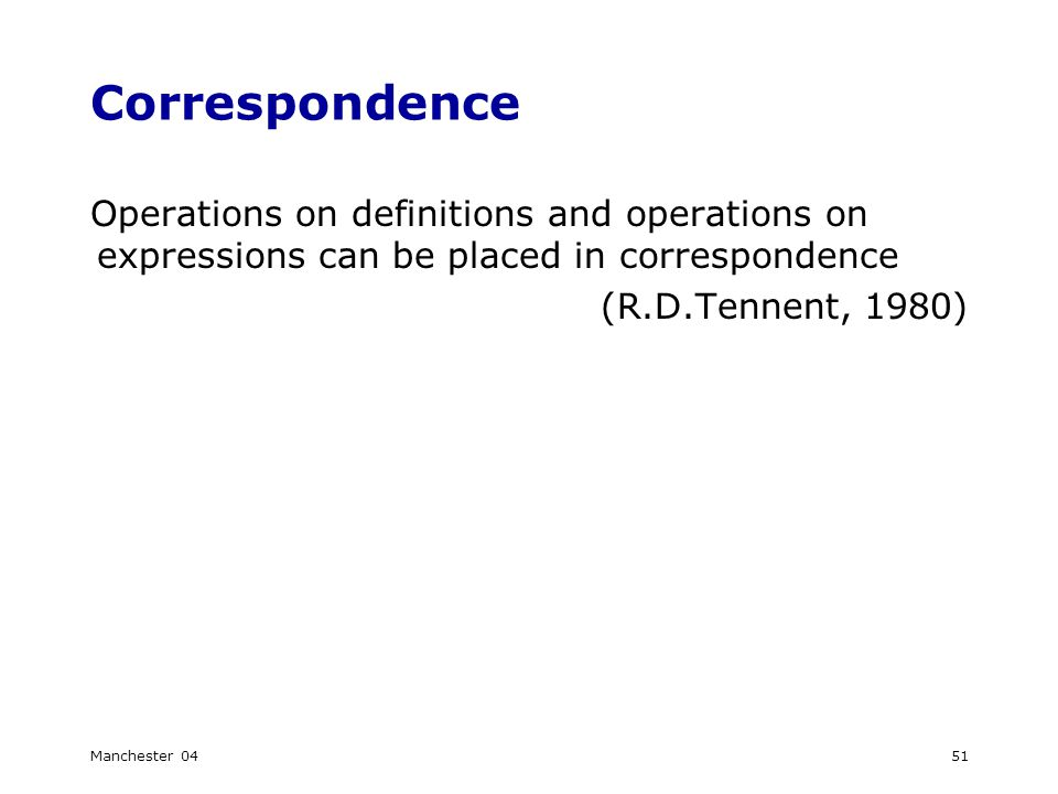 Manchester 0451 Correspondence Operations on definitions and operations on expressions can be placed in correspondence (R.D.Tennent, 1980)