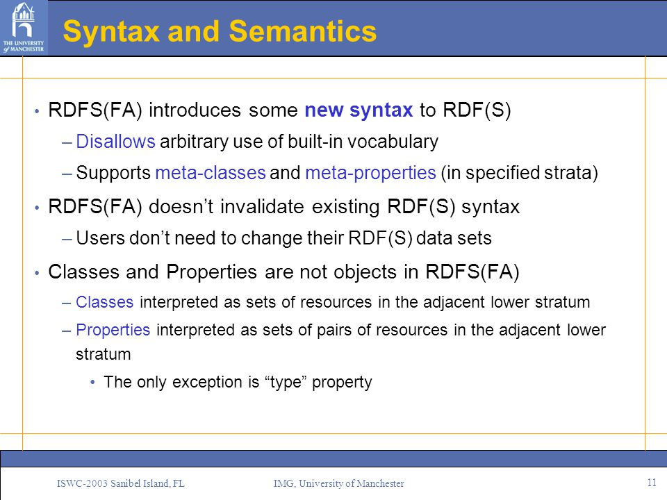 11 ISWC-2003 Sanibel Island, FL IMG, University of Manchester Syntax and Semantics RDFS(FA) introduces some new syntax to RDF(S) –Disallows arbitrary use of built-in vocabulary –Supports meta-classes and meta-properties (in specified strata) RDFS(FA) doesn't invalidate existing RDF(S) syntax –Users don't need to change their RDF(S) data sets Classes and Properties are not objects in RDFS(FA) –Classes interpreted as sets of resources in the adjacent lower stratum –Properties interpreted as sets of pairs of resources in the adjacent lower stratum The only exception is type property