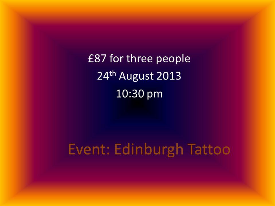 Event: Edinburgh Tattoo £87 for three people 24 th August 2013 10:30 pm