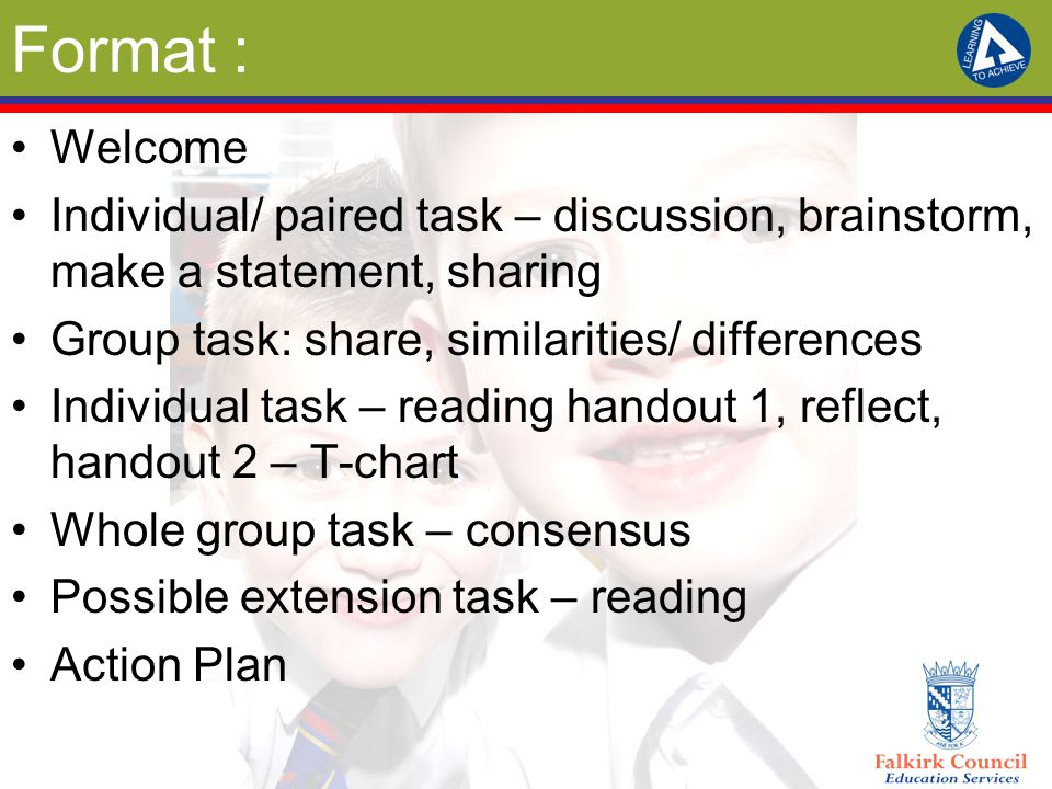 Format : Welcome Individual/ paired task – discussion, brainstorm, make a statement, sharing Group task: share, similarities/ differences Individual t