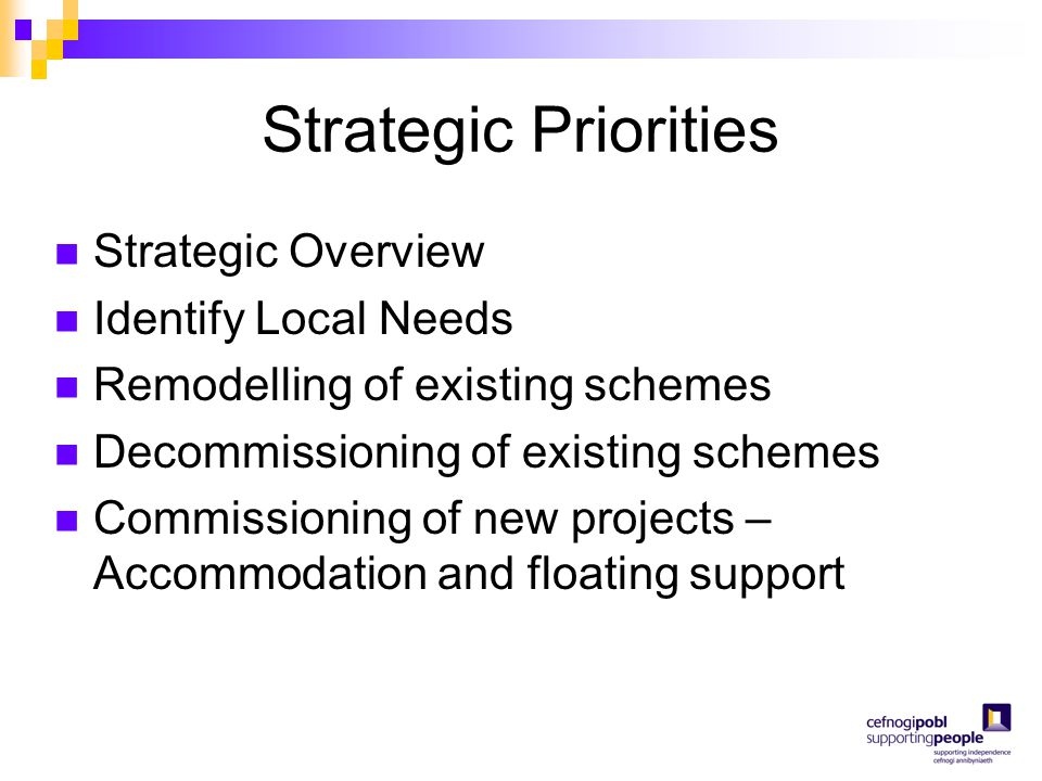 Strategic Priorities Strategic Overview Identify Local Needs Remodelling of existing schemes Decommissioning of existing schemes Commissioning of new