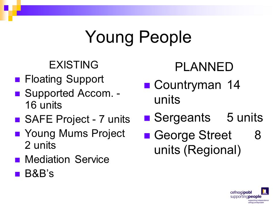 Young People EXISTING Floating Support Supported Accom. - 16 units SAFE Project - 7 units Young Mums Project 2 units Mediation Service B&B's PLANNED C