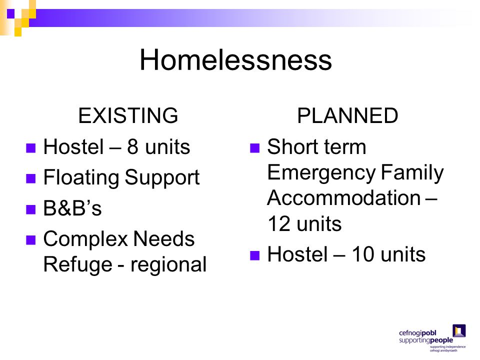 Homelessness EXISTING Hostel – 8 units Floating Support B&B's Complex Needs Refuge - regional PLANNED Short term Emergency Family Accommodation – 12 u