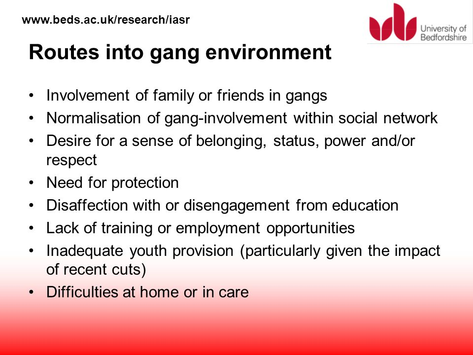 www.beds.ac.uk/research/iasr Routes into gang environment Involvement of family or friends in gangs Normalisation of gang-involvement within social ne