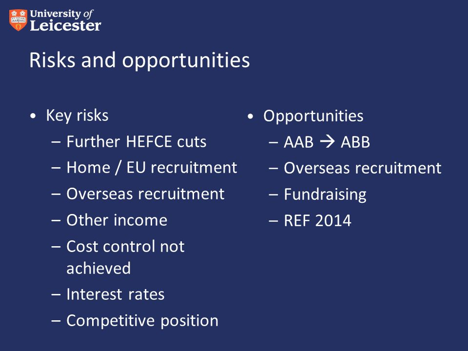 Risks and opportunities Key risks –Further HEFCE cuts –Home / EU recruitment –Overseas recruitment –Other income –Cost control not achieved –Interest rates –Competitive position Opportunities –AAB  ABB –Overseas recruitment –Fundraising –REF 2014