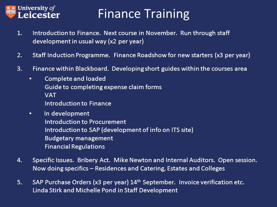 Finance Training 1.Introduction to Finance. Next course in November.